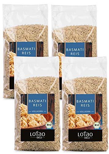 Lotao Set Basmati Reis Vollkorn / Weiß, Bio, 4x 500 g (Vollkorn, 4 x 500 Gramm)