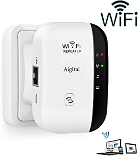 Aigital WiFi Extender 300 Mbps Wireless Repeater Internet Signal Range Booster Adapter, Easy Setup WLAN Network Amplifier Access Point Dongle - 2.4GHz WPS Function New Chip