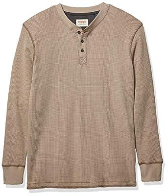 Wrangler mens Long Sleeve Waffle Henley Shirt, Pumice Stone, Large US