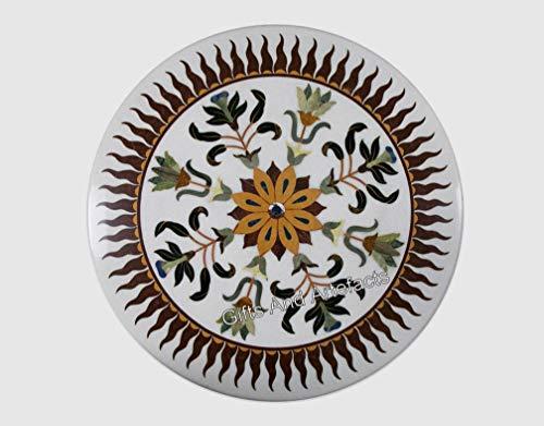 Mesa de centro de mármol de 30 pulgadas con arte de marquetería para un estilo de vida lujoso