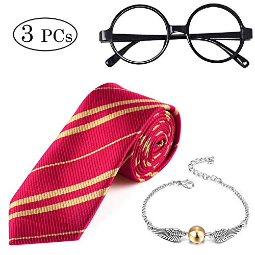 3-PCs-Striped-Tie-Novelty-Wizard-Glasses-Frame-Golden-Snitch-Quicksilver-Bracelet-Party-Fancy-Dress-Accessories-for-Kids-HP-Fans