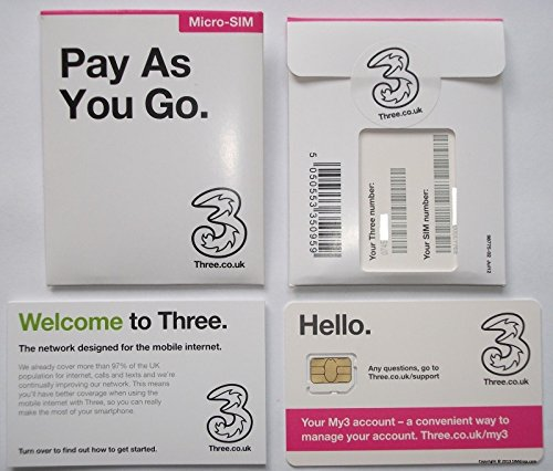 3 Mobile 3G/4G MULTI SIM Pay As You Go- Includes Standard, Micro & Nano Triple SIM Card For IPHONE 4, 4S, 5, 5C, 5S, 6, 6S, 6+ / Ipad Air / Air2 / GALAXY S2 /S3 /S4 /S5 /S6 / S6-EDGE / GALAXY TAB / NOTES - SEALED - Unlimited Calls, Texts and Data -  MOBILES DIRECTS COMMUNICATIONS LTD