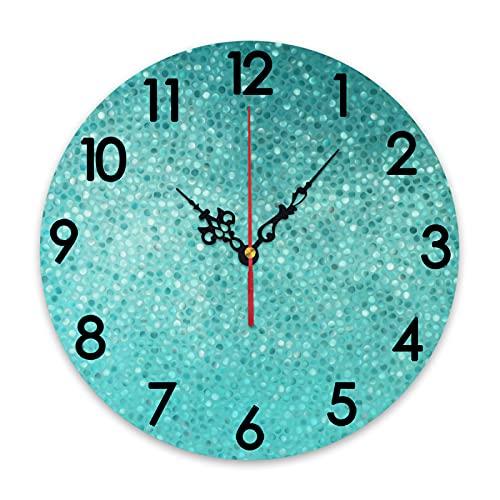 GEEVOSUN Reloj de Pared Redondo, silencioso, sin tictac, pequeño Punto, Mosaico de Azulejos, Forma, Simple, clásico, Creativo, diseño artístico, decoración del hogar para Sala de Estar, Cocina, dormi