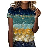 DESKABLY Cute Summer Tops for Women Plus Size Tops O-Neck Print Short Sleeve T-Shirt Tops Casual Loose Blouse Tops Blue