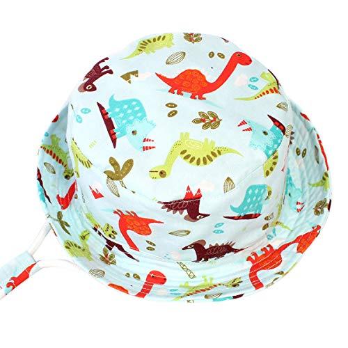 Happy Cherry - Verano Gorro de Sol para Bebés Niños Ajustable para Viaje Playa Sombrero de Pescador Infantil de Algodón Bucket Hat de Cartoon - Dinosaurio - 52CM/3-5Años