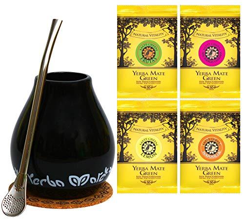 Mate Green Trinkset 'Mate Tee | Mate Geschenkset Original | Becher Bombilla 19 cm, Keramik -Edelstahl | Mate Tee aus Brasilien | Hohe Qualität | Fruchtiger Mate Tee | nicht rauchgetrocknet |
