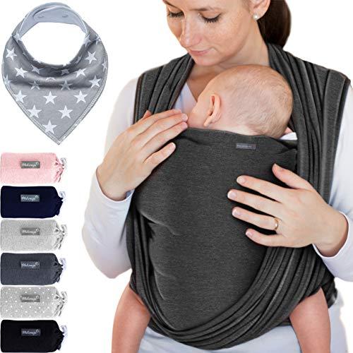 Babytragetuch Dunkelgrau – hochwertiges Baby-Tragetuch für Neugeborene und Babys bis 15 kg - inkl. Baby-Lätzchen
