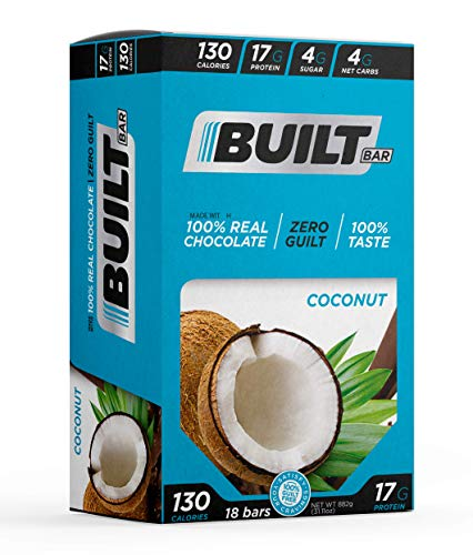 Built Bar 18 Pack Protein and Energy Bars - 100% Real Chocolate - High In Whey Protein And Fiber - Gluten Free, Natural Flavoring, No Preservatives (Coconut)