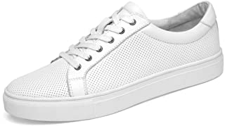 ZhaoXin Chen Athletic Sneaker for Men Skate Shoes Lace up Genuine Leather Breathable Low Top Perforated Round Toe Casual Wear-Resisting Anti-Slip (Color : White, Size : 7 UK)