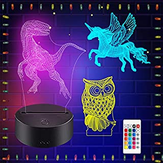 3D Night Light, ZSPENG Illusion Table Lamp, 3 Acrylic Flats & 16 Colors Change Decor Lamp with Remote Control for Kids, Christmas Birthday New Year Gifts for Kids (Owl,Unicorn,Dinosaur)