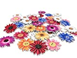 Wooden Buttons, Retro Flower-Shaped Pattern Decorative Button,Novelty Mixed Round 2 Holes Buttons Pack of 50(Multicolored-Flower)
