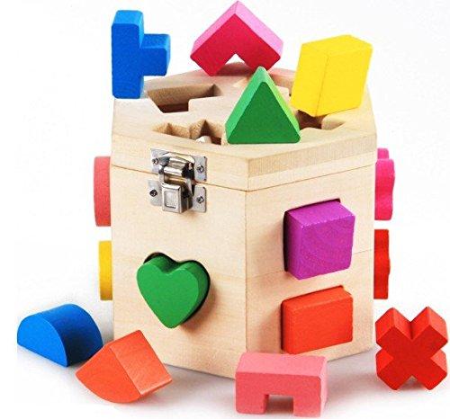 chalt 立体カラフルパズル 積み木 木製 立体パズル パズルボックス ブロック 【 子ども お祝い プレゼントに 】(15ピース)