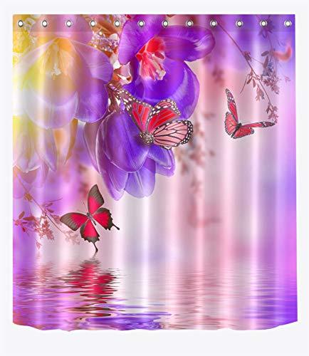 NNAYD1996 Mariposa Flor Morada Impresión Digital a Prueba de Agua y Moho