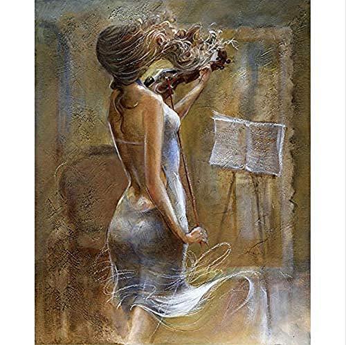 JFZJFZ Schilderen op canvas DIY digitaal olieverfschilderij op nummer decoratie knutselen geschenken meisjes spelen viool frameloos 40x50 cm digitaal schilderij