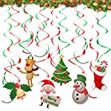 36PCS Christmas Hanging Swirl Decorations, Ceiling Swirl Decoration Christmas Tree Snowman Socks Santa Claus Bell Reindeer for Winter Wonderland Christmas Party Decoration