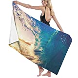 Grande Suave Ligero Microfibra Toalla de Baño Manta,Impresión de la Costa de los árboles Tropicales del océano,Hoja de Baño Toalla de Playa por la Familia Hotel Viaje Nadando Deportes,52' x 32'