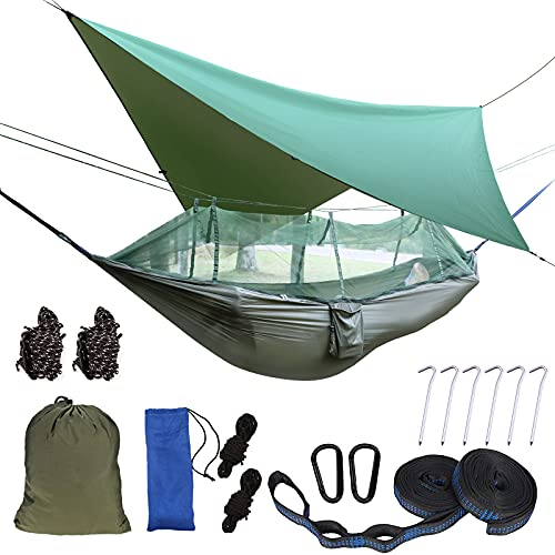 Portable Camping Hammock with Rain Fly Tarp and Mosquito Net Tent Tree Straps, Lightweight Nylon Hammocks for Hiking, Beach, Backyard, Patio, Backpacking Outdoor Activities