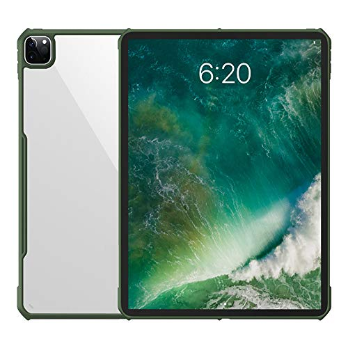 Geschikt Voor Ipad Pro 11/12,9 Inch 2020 Siliconen Valbestendige Tablet-Pc-Hoes Ultradunne Transparante Hoes Donkergroen (Stuur: Gehard Film) Voor Meer Bescherming,ipad pro 12.9 2020