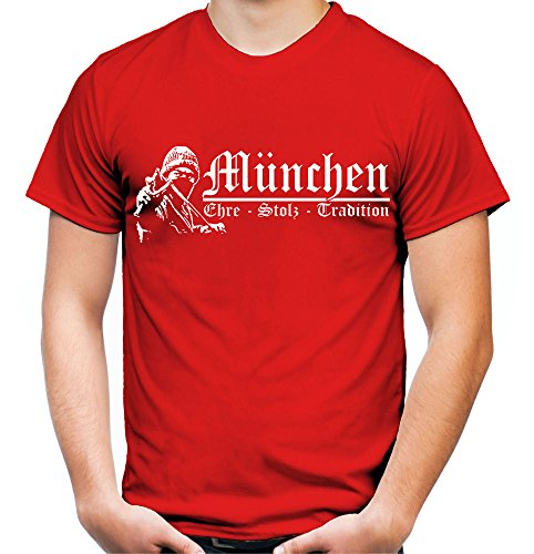 München Ehre & Stolz Männer und Herren T-Shirt | Fussball Ultras Geschenk | M1 FB (Rot, XL)