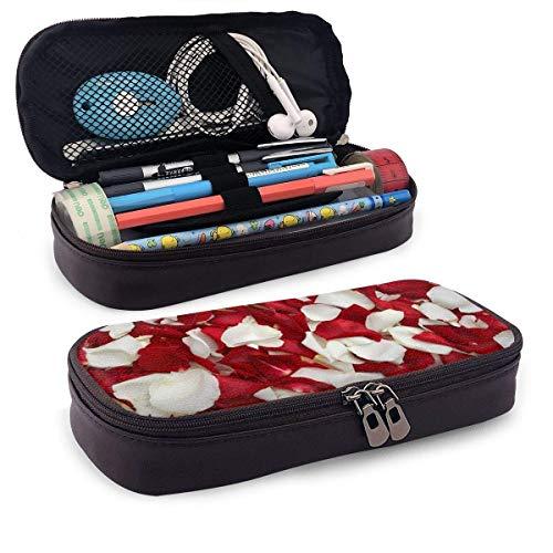 I Love You Letters con anillo de rosas rojas Estuche para lápices Estuche para lápices Estuche para lápices de maquillaje Estuche para bolígrafos Organizador de cajas Duradero para estudiantes Papel