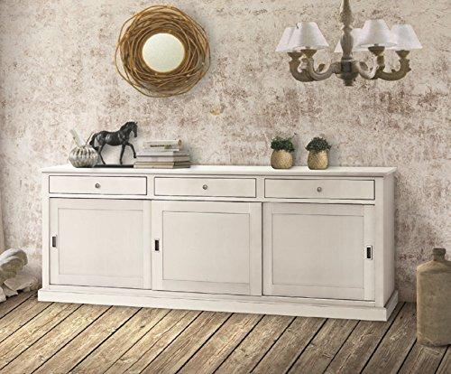 InHouse Srls - Aparador de 3 puertas, arte pobre, de madera maciza y MDF con acabado en blanco mate, medidas 200 x 50 x 90 cm
