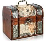 Brynnberg - Caja de Madera Cofre del Tesoro Pirata de Estilo Vintage, Hecha a Mano, Diseño Retro 21x17x18cm