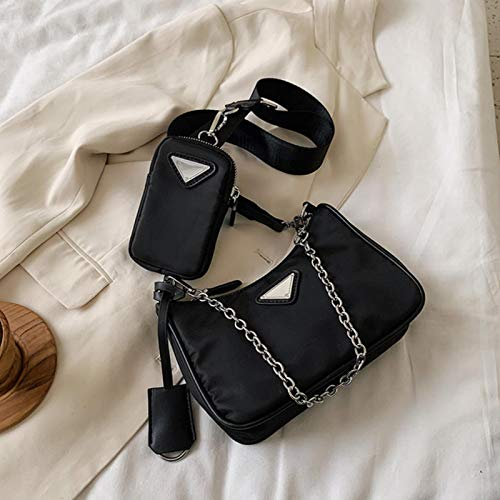 Hzryc Bolsas De Hombro Causal Mujeres De Lujo Bolsos De Las Mujeres del Diseñador Bolso De Las Mujeres con Mini Bolsas De Hombro Bolsa De Mensajero,Negro,21cmx12cm