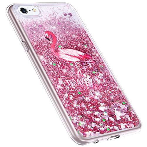 MoreChioce kompatibel mit iPhone 6S Plus Hülle,iPhone 6 Plus Hülle Treibsand,Kreativ Flamingo Dual Layer Quicksand Glitzer Funkeln Handyhülle Transparent Hybrid Silikon Kratzfeste TPU Bumper
