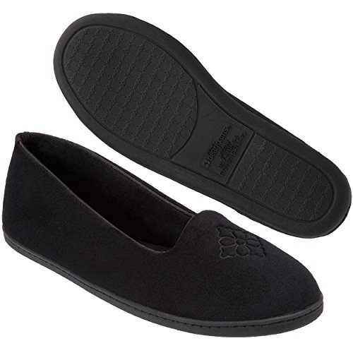 Dearfoams Women's Rebecca Microfiber Velour Closed Back Slipper,Black,L