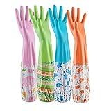 AOOPOO 4 Paar Küche Gummihandschuhe gefüttert Handschuhe für Reinigung und