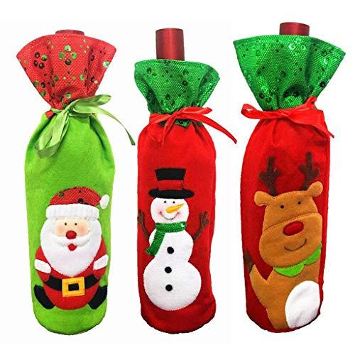 catyrre 3 Pezzi Natale Champagne Bottiglia di Vino Rosso Borsa Vecchio Renna Pupazzo di Neve tavola di Natale Decorazione Cena Decorazione Festa di Famiglia