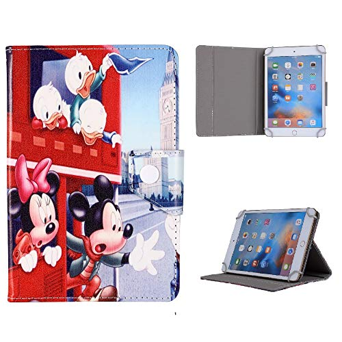 Universal 7' 8' 9.7' 10' inch Size Tab Tablet Case - Disney Castle Fireworks ~ Mickey Minnie Mouse Disney Family Tab Cover (Universal 9.7' (9.7' Inch), Mickey Minnie London Bus)