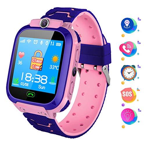 Kindersmartwatch met LBS tracker smartwatch met telefoon kinderen met SOS-oproepen camera wekker zaklamp veiligheidszone voor kinderen 3-12 meisjes jongens compatibel iOS Android (roze)
