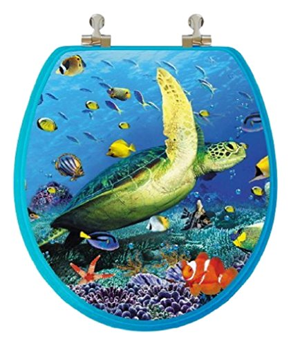 TOPSEAT 6TS3R1900CP 805-1 3D Ocean Series Round Toilet Seat with Metal Hinges, Sea Turtle