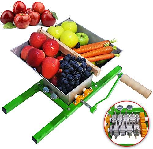 DMS® 7L Obstmühle Traubenmühle Beerenmühle Obstpresse Obsthäcksler Obstmuser, Maischemühle, Mühle mit Hochwertige Holz-Handkurbel
