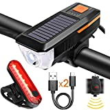 Bike Lights, USB Rechargeable Bike Front Light & TailLight Set, Solar Headlight Bicycle