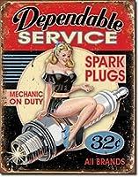 Dependable Service ブリキ看板 ビンテージ風 32×40cm 輸入品
