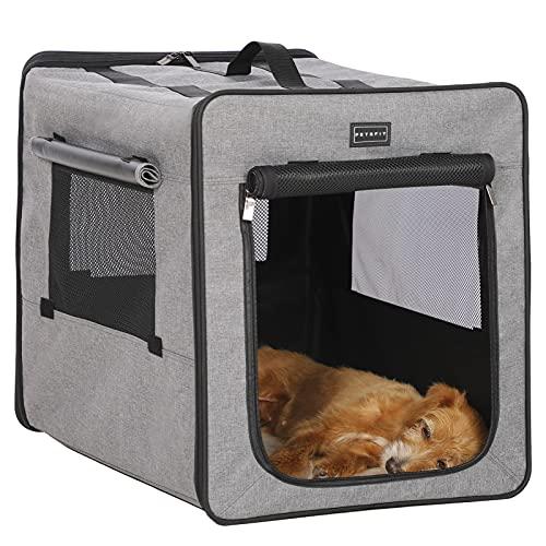 Petsfit faltbar Hundebox Transportbox für Auto & Zuhause Hundetransportbox Katzenbox mit Fleece Matte für große kleine Hunde …