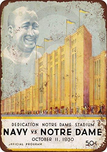 cwb2jcwb2jcwb2j 1930 toewijding Notre Dame stadion marine spel vintage look reproductie metalen teken