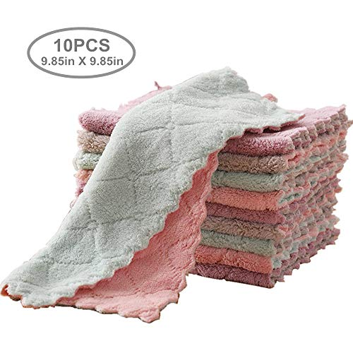 """yuequ 10-Pack 9.85""""x9.85"""" Dish Towels, Microfiber Cleaning Cloth,Double-Sided Dish Drying Towels,Reusable Household Cleaning Cloths for House Furniture Table Kitchen Dish Window Glasses"""