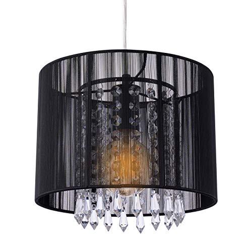 MAKITESY Kristall Hängelampe Lampenschirm, Orientalische Kronleuchter Deckenlampe Schwarz, Lüster Pendelleuchte Hängelampenschirm Schlafzimmer Esszimmerlampe (Keine Glühbirne enthalten)