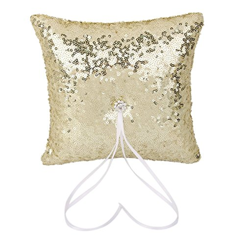 ULTNICE 20*20cm Sparkling Wedding Bridal Ring Sequins Bearer Pillow (Gold)