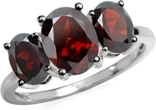 Silvershake 3.87ct. 3 Stone Natural Garnet White Gold Plated 925 Sterling Silver Ring