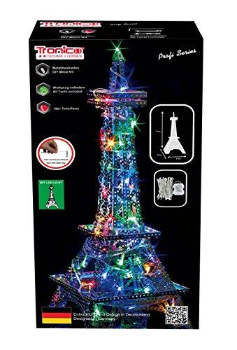 TRONICO Metallbaukasten Eiffelturm LED Konstruktionsspielzeug Mint STEM Modellbau Bauen mit Werkzeug
