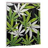 LiBei Impermeable Cortina de Ducha,Marihuana Hoja Verde y Dibujo Negro Marihuana de Patrones sin Fisuras.Set de decoración de baño de Tela con Ganchos 180cmx180cm