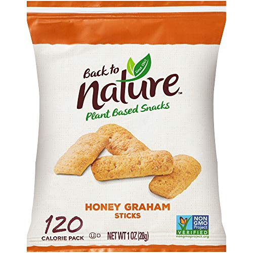 Back to Nature Cookies, Non-GMO Honey Graham Stick, 1 Ounce Grab & Go Bags, 100 Count