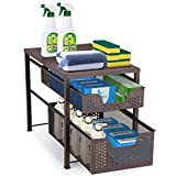 Simple Trending 2-Tier Under Sink Cabinet Organizer with Sliding Storage Drawer, Desktop Organizer for Kitchen Bathroom Office, Stackbale, Bronze