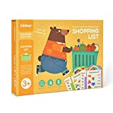 JCREN Shopping List Board Games for Kids - Wooden Educational Memory Game Matching Puzzle Game Groceries Cognitive Early Learning Montessori STEM Gift Toys for Preschool Toddler Boy Girl