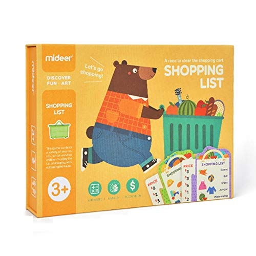 JCREN Shopping List Board Games for Kids Wooden Educational Memory Family Game Matching Puzzle Groceries Cognitive Math Early Learning Montessori STEM Gift Toys for Preschool Toddler Boy Girl