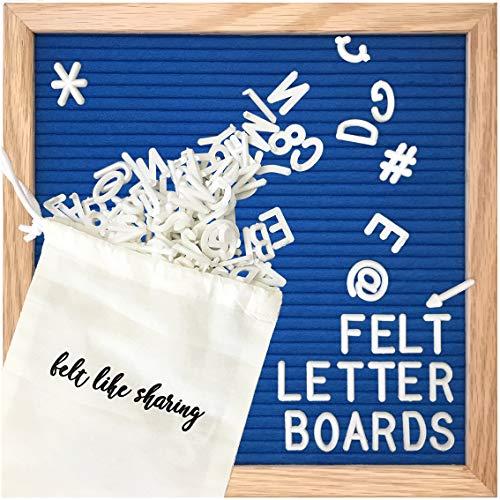 Felt Letter Board, 10x10in Changeable Letter Board with Letters White 300 Piece - Felt Message Board, Oak Frame Wooden Letter Board for Baby Announcements, Milestones, Office Decor (Sapphire Blue)